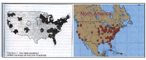 Fig 3 Left High Risk Counties Within 100 Miles Of Nuclear Reactors Where 2 3 Of Breast Cancer Deaths Occurred 1985 1989 Source J Gould The Enemy